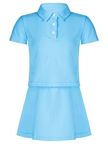 inhzoy Kinder Mädchen Tennis Hockey Golf Kleid Kurzarm Shirt Rock Tennisröcke Set Sport Radfahren Laufen Outfit Fitnessanzug Atmungsaktiv Himmelblau 134-140
