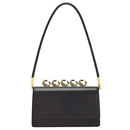 GGLZMMF Bolsa De Hombro De Cuero Simple Vintage Bolsa De Axila Vintage Mini Luz Negocio Casual Bolsa De órgano Bolsa Azul Negro Luz Marrón Marrano Oscuro Black-OneSize