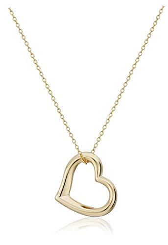18k Yellow Gold Plated Sterling Silver Open Heart Pendant Necklace, 18'