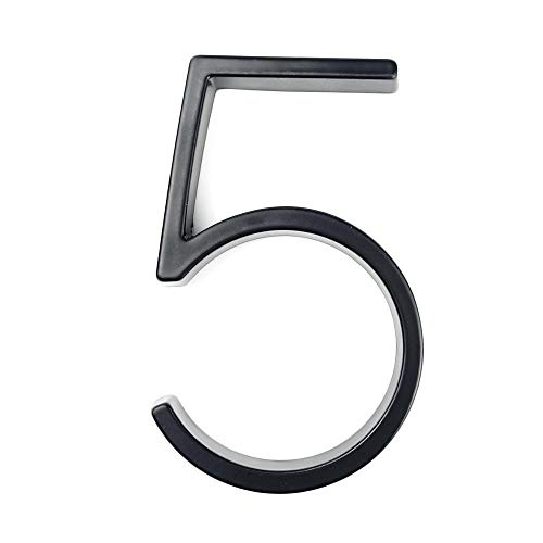 HNTKSM Número de la casa 12 cm flotante número de la casa letra A B C nombre placa puerta alfabeto letras tablero barra signo 12 cm aleación de zinc negro casa signo (color: 5)