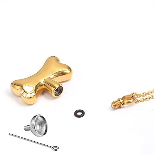 Pet URN Pet Pet Bone urn Collar Memorial Ashes Holder Holder Cremation Ashes Shain Pendant Memorial Jewelry con Embudo para Ashes Dog Cat (Color : Gold 2)