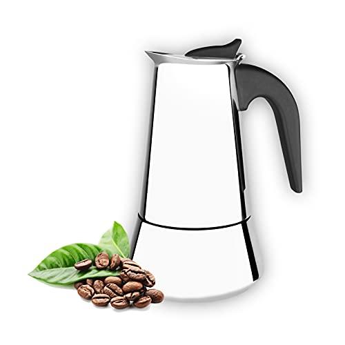 Cafetera italiana 6 tazas para induccion,gas y vitroceramica. De acero inoxidable, diseño ergonomico, portatil,estilo vintage, para uso domestico, oficina o al aire libre.