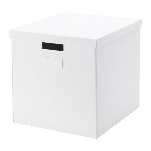 TJENA 32x 35x 32cm A4Größe Zuhause/Büro weiß Aufbewahrungsbox mit Deckel (perfekt für Papiere, Zeitungen, Fotos oder anderen Erinnerungsstücken)