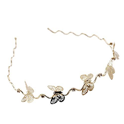 Haarreif für Damen, doppellagig, Metall-Stirnband, Schmetterling, Blumen, Strass, Hochzeits-Haarreifen