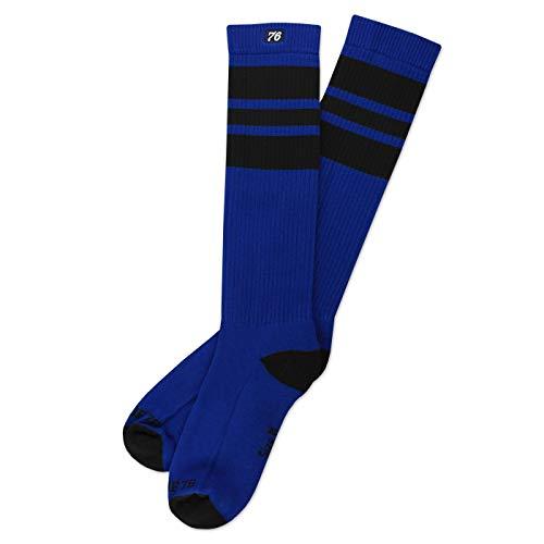 Spirit of 76 The black Blacks   Hohe Retro Socken mit Streifen Blau, Schwarz gestreift   stylische Unisex Kniestrümpfe Size L (43-46)