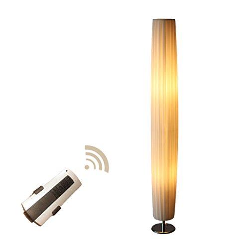Ywyun Lampe de plancher verticale plissée blanche minimaliste moderne, lampe de plancher à télécommande de tissu de protection d'oeil européenne, éclairage d'étude de salon (Taille : Round)