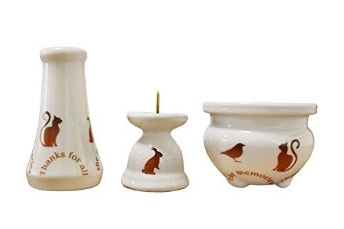 ペット仏具 ミニ仏具 3点セット アニマル柄 花器 香炉 ろうそく立て ブラウン 香炉灰 つき