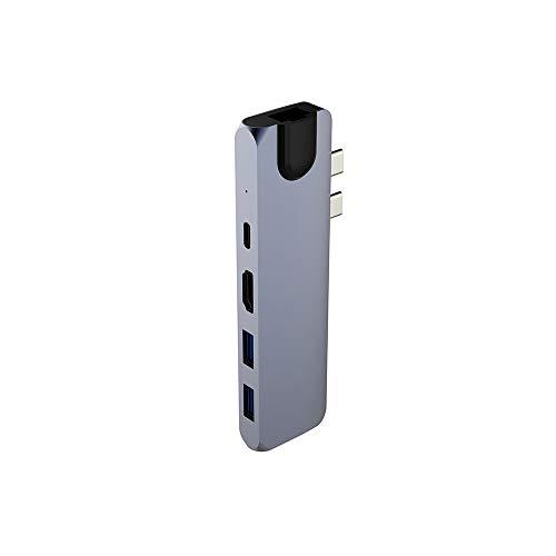 CGGA Estación de Acoplamiento Ethernet USB C Splitter Thunderbolt 3 Docking Station Dual Type C (Color : Grey)