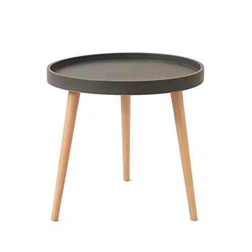 KUN_SK KunstDesign, tavolino da salotto rotondo, impermeabile, per soggiorno, camera da letto, colore: grigio