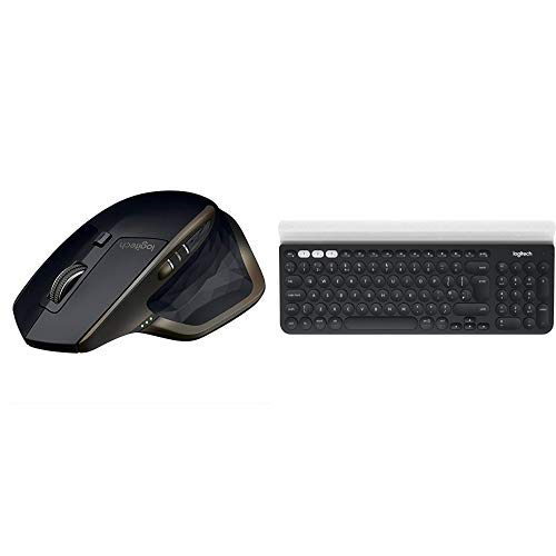 Logitech MX Master Mouse Wireless con Bluetooth e Unifying, Versione per Amazon, N + Logitech K780 Tastiera Multidispositivo Wireless per Windows, Mac, Chrome OS, iOS, Android, QWERTY