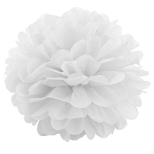 JZK 10 x Blanco pompones de papel 25 cm decoracion flores pom pom para boda cumpleaños fiesta comunión bautismo graduado de nacimiento de Halloween Navidad pon pon pompon
