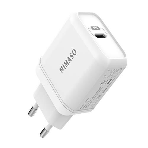 NIMASO Caricatore USB C PD 18W,Caricatore da Muro Ricarica Rapida Power Delivery 3.0/QC 3.0/FCP Compatibile con iPad Pro 2018, iPhone 11/11 Pro Max,Samsung S10/S9,Huawei P30 Pro,Xiaomi,Sony,Nexus,ECC.