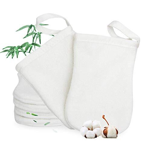 Guantes de baño de fibra de bambú, guantes de limpieza para la cara, los ojos y el cuerpo, cosidos a partir de 4 capas de fibra de bambú. Antibacteriano de larga duración para una piel sana (6 pzs)