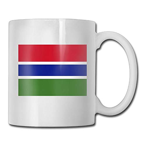 Daawqee Becher Coffee Mug Flag of The Gambia Mugs Personalized Ceramic Coffee Tea Cups Double-Side Printing 11oz