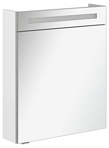 FACKELMANN Spiegelschrank B.CLEVER/eintürig/Spiegelschrank mit gedämpften Scharnieren/Maße (B x H x T): ca. 60 x 71 x 16 cm/hochwertiger Spiegelschrank/Möbel fürs WC und Bad/Korpus: Weiß