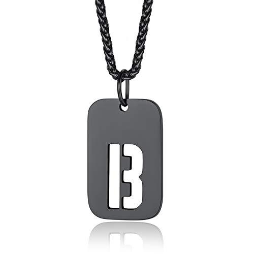 26 Letras Iniciales Colgante Rectangular Alfabeto B Chapa Militar Acero Inoxidable 316L Cadena Negra de SOGA 55cm Accesorios Modernos para Cuellos Colgante Placa