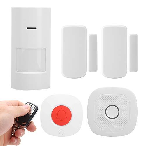 Kit de sistema de alarma WiFi, alarma de seguridad por infrarrojos, puerta con sensor magnético, timbre de puerta con control remoto, funciona para Tuya EU Plug 100‑240V