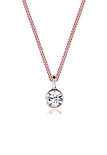 Elli Halskette Damen Basic Solitär Anhänger mit Swarovski® Kristalle in 925 Sterling Silber