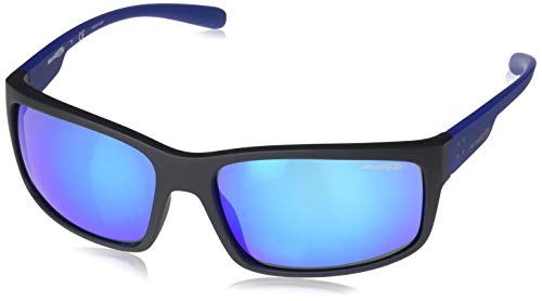 Arnette Fastball 2.0, Gafas de Sol para Hombre, Negro (Matte Black/Green Mirror Light Blue), 62