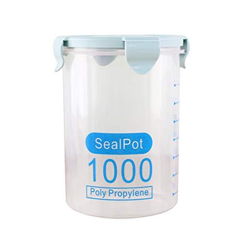 Bestonzon Boîte de conservation hermétique en plastique étanche avec couvercles de verrouillage Convient pour céréales, farine, sucre et riz Bleu 1000 ml