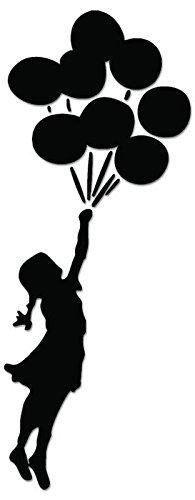 Banksys Girl Balloon - [12 inch / 30 cm Tall] - sticker van SUPERSTICKI® voor auto's, biljetten, lak, motorfiets, muurtattoo, sticker, autosticker voor alle gladde oppervlakken, stickers zonder achtergrond - professionele kwaliteit