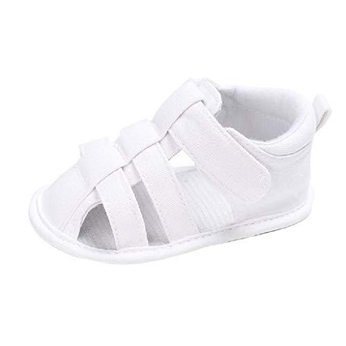 feiXIANG Unisex Baby Sandalen Frühlings Sommer weiche krippe Schuhe Mädchen Jungen Römersandalen 0-12 Monat(Weiß,0-6 Monat=11)