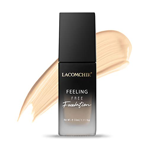 Lacomchir Feeling Free Base de Maquillaje Cover Total 24H Larga Duración Mate Base Maquillaje Cobertura Total Líquida - Impermeable y Reduce Las Arrugas - 33 ml - Vegano | Libre de Crueldad - LIGHT