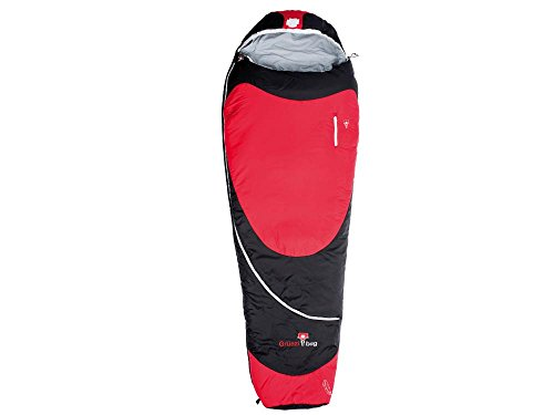 Grüezi-Bag Biopod Hybrid Wool/Down, 215x78cm, Schlafsack, Ripstop 100% Polyamid, Polyester-Woll-Füllung, Fußbereich 50cm, ca. 1300g, in Black-red