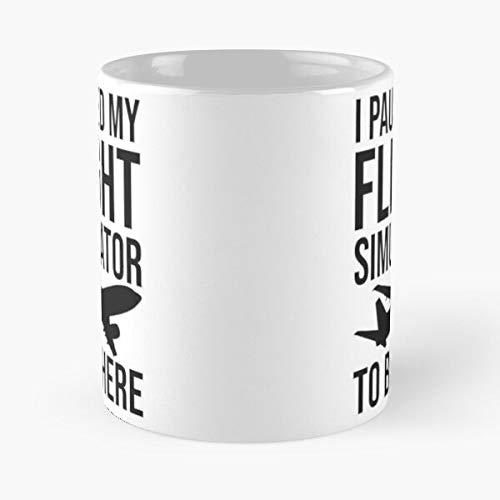 Paused Simulation Flight I My Aviation Funny Simulator - Taza de café de cerámica blanca de 11 onzas