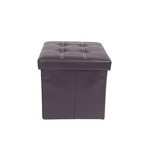 Rebecca Mobili Pouf Cubo nero, pouff poggiapiedi, sgabello da camera salotto, finta pelle - Misure 30 x 30 x 30 cm (HxLxP) - Art. RE4257