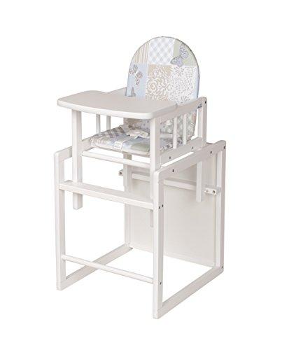 Geuther - Kombi-Hochstuhl Nico, zweifache Nutzung als Kinder-Stuhl- und Tisch-Kombination oder Hochstuhl, TÜV geprüft, hoher Rücken, mit Sicherheitsgurt, weiß, Patchwork