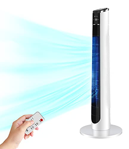 Tower Fan- Oscillating Fan with Remote, Cooling, Quiet, Large LED Display, 12-Hour Timer, 36'' Electric White Standing Bladeless Fan for Whole House, Home, Office, Living room