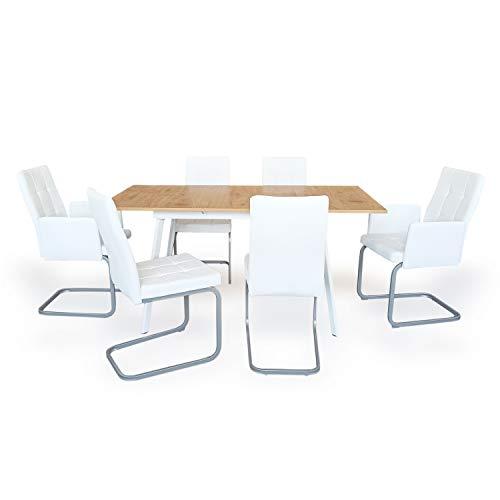 B&D home - Essgruppe mit 6 Stühlen   Esstisch ausziehbar 120-160x80 cm - Honig Eichen-Optik   Freischwinger Stühle