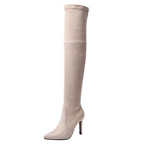 MISSUIT Damen Spitze Overknee Stiefel High Heels Stiletto Stiefel Langschaft Slip on Stretch Boots Herbst Winter Schuhe(Beige,40)