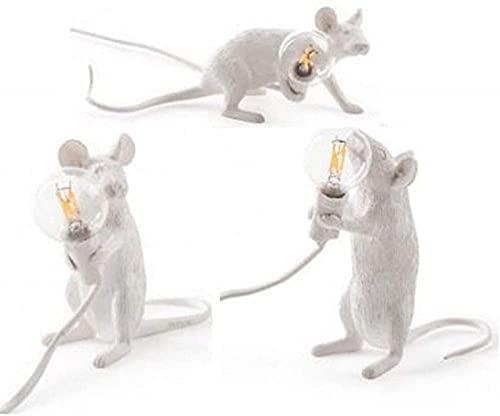JFFFFWI Lámpara de Escritorio Escritorio Lindo Mesita de Noche Modelo de habitación para niños Lámpara de decoración de habitación Personalidad Creativa Mini Decoración de Resina Blanca Lámpara de e
