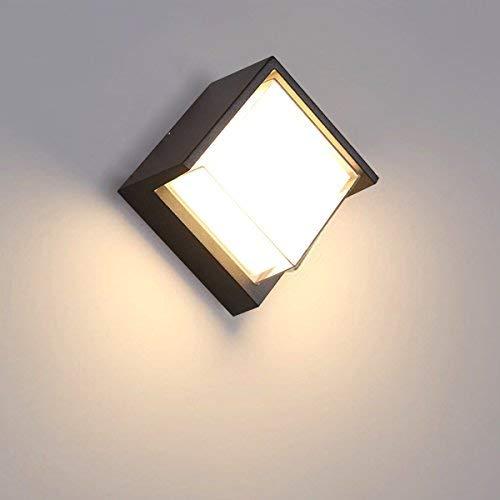 Tubc Dusk Till Dawn - Aplique de pared LED para exteriores (12 W, IP65, 3000 K, luz blanca cálida, iluminación de pared, LED, impermeable, 16 x 16 x 10 cm (cuarta Blac Squareblack