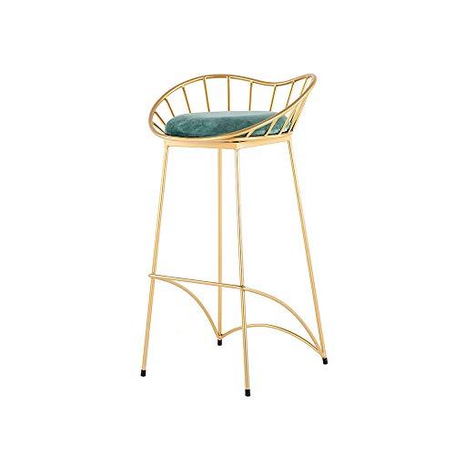 Goudsmeedijzeren stoel met hoge barkruk, hoogte 65 cm, ijzeren structuur fluwelen kussen, goudverf, voor restaurants, bars, cafés, balie