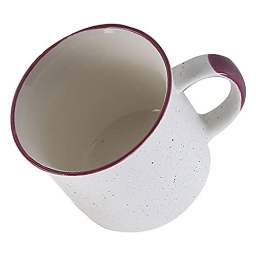 Luxshiny Tazas de Café Esmaltadas Tazas de Café Vintage Tazas de Té de Metal Simples Sopa de Campamento Tazas de Beber Leche con Mango para Jugo Agua de Desayuno Oficina en Casa Púrpura
