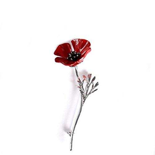 VWH Vintage Floral Red Poppy Flower Pins Brooches Women Jewelry Decorative Clothing Accessories (Silver)
