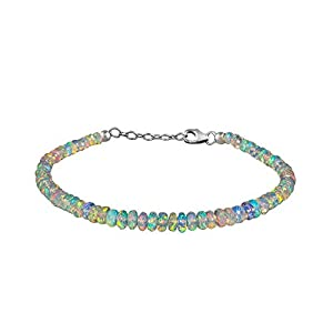 Natural Fire Opal Beaded Bracelet In 925 Sterling Silver For Women Personalized Gifts