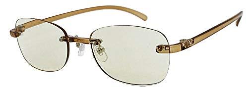 (フェイストリックグラッシーズ) オシャレで軽い老眼鏡 UV/近赤外線/ブルーライトカット鯖江メーカー高性能レンズ老眼鏡 クリアブラウンフレーム/ライトブラウンレンズ FTR02-2LB +1.00