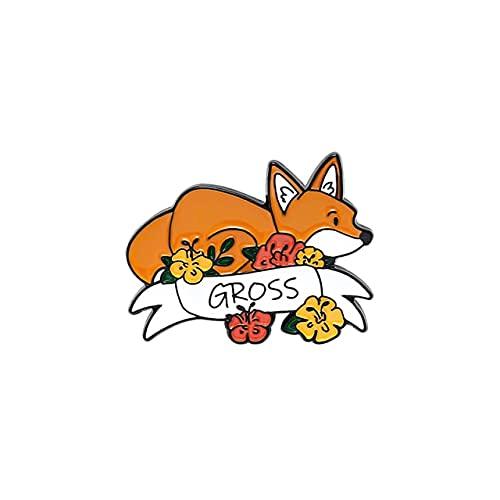 私に話さないでくださいかわいいキツネエナメル針花動物ブローチ服ラペルバックパックピンバッジジュエリー