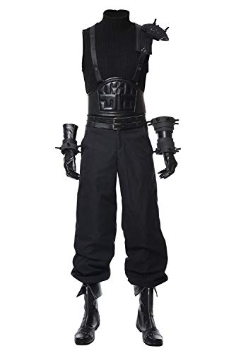 MUCLOTH Final Fantasy VII Remake Cloud Strife Halloween Cosplay Costume Uniform Outfit Suit Dress Jacket Sets (S, Male)