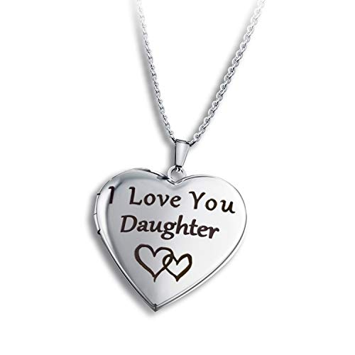 PHOCKSIN Heart Locket Necklace that Holds Pictures Engraved I Love You Daughter Photo Lockets