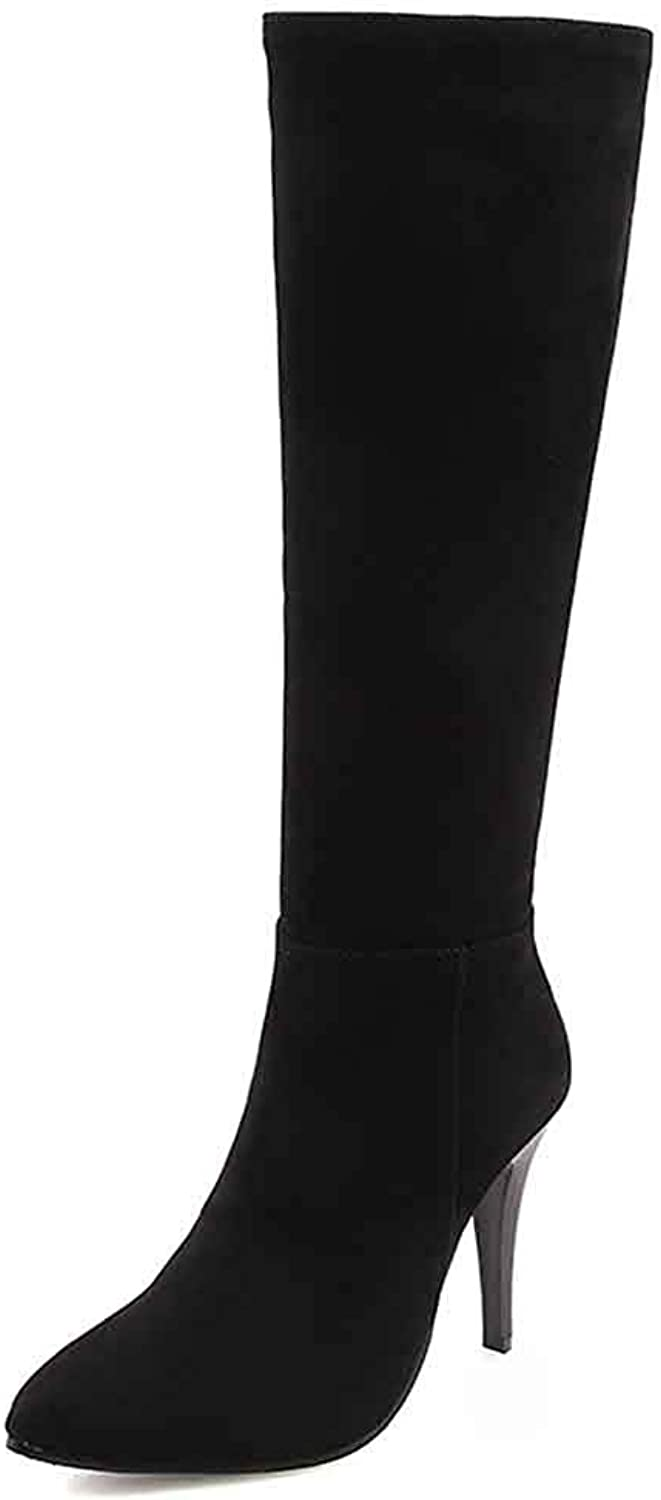 Unm Women's Sexy Stiletto High Heel Tall Boots with Zipper Dressy Inside Zip Up Pointed Toe Knee High Boots
