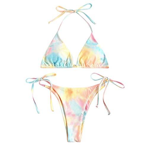 riou Conjuntos de Bikinis para Mujer Push Up con Estampado de Talla Grande Brasileños Bañador con Relleno Sujetador Tops y Braguitas Ropa de Playa vikinis