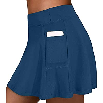 GXLONG Women's Active Skort Athletic Stretchy Pleated Tennis Skirt for Running Golf Workout A-Line Skirts with Pockets(Blue,X-Large)