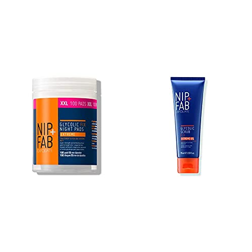 Nip+Fab Glycolic Fix Night Pads Extreme, no colour, XXL, 135ml (100 Pads) & Glycolic Fix Scrub Extreme