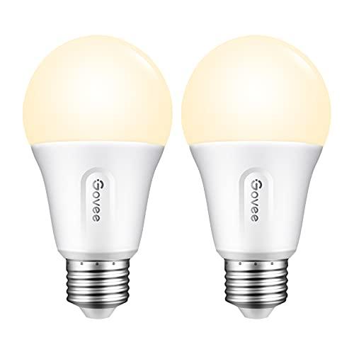 Govee LED Light Bulbs Dimmable, Smart Light Bulbs Works with Alexa & Google Home, No Hub Required, 9W 60Watt Equivalent WiFi and Bluetooth Light Bulb, A19 E26 2700K Soft Warm White LED Bulbs, 2 Pack