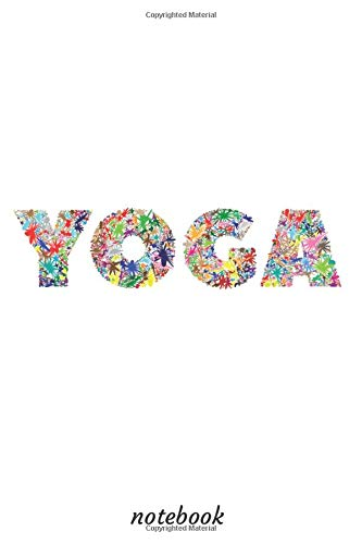NoteBook: with the word YOGA  in flowers design
